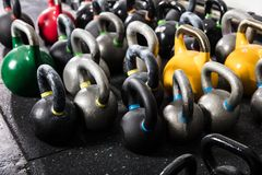 Different Sizes Of Kettle Bell. In The Gym stock photo