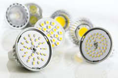 Different sizes of LED bulbs for GU10 and MR16 Stock Image