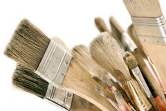 Isolated Used Paint Brushes Royalty Free Stock Photos