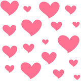 Different sizes pink hearts. Isolated seamless pattern on white background. Symbol of love and romance. Vector drawing Royalty Free Stock Photography