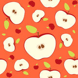 Different sizes red apple cut in half with core and seeds. Seamless pattern on bright background. Vector illustration. Stock Photos