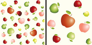 Different sizes red, yellow and green apples. Seamless pattern. Different sizes red, yellow and green apples. Seamless 3D object pattern on light background vector illustration