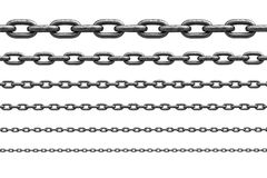 Different sizes of stainless chain Stock Photos