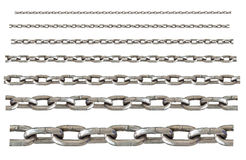 Different sizes of stainless chain isolated Royalty Free Stock Photography