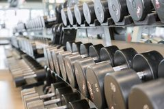 Dumbbell free weights at the gym. Different sizes and weights of dumbbell free weights at a gym royalty free stock photos