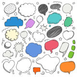 Different sketch style speech clouds collection Royalty Free Stock Photography