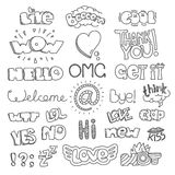 Different sketch style words collection. Vector doodles set Stock Image