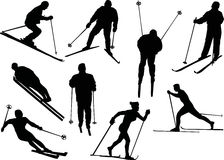 Different skier silhouettes Stock Photo