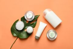 Different skin care cosmetic products with green leaf. On color background, top view stock image