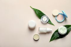 Different skin care cosmetic products with green leaves. On light background, top view Royalty Free Stock Photography