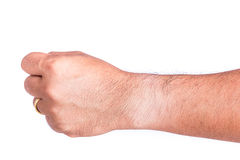 Different skin color on wrist under the watch Royalty Free Stock Images