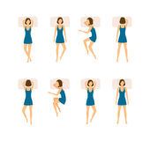 Different Sleeping Poses Woman Set. Vector Royalty Free Stock Image