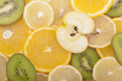 Different slices of sliced ��fruit. Stock Image