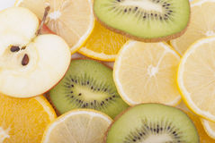 Different slices of sliced ​​fruit. Royalty Free Stock Image