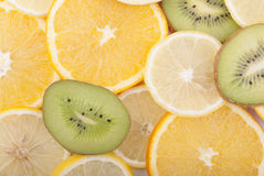 Different slices of sliced ​​fruit. Stock Photography