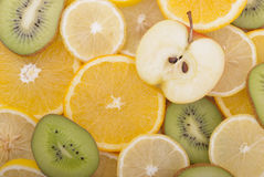 Different slices of sliced ​​fruit. Stock Images