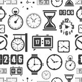 Different slyles of clock seamless background Royalty Free Stock Image