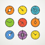 Different slyles of color speedometers Stock Photography