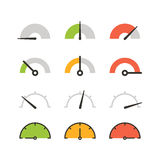 Different slyles of speedometers vector collection Stock Photos