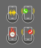 Different smartphone activities illustration Stock Photo