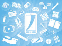Different smartphone applications royalty free illustration