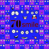 Different smiles in the blue-violet tones Royalty Free Stock Image