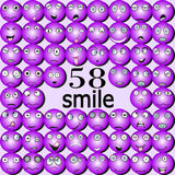 Different smiles in the purple tones Stock Photography