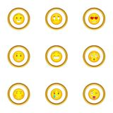 Different smileys icons set, cartoon style vector illustration