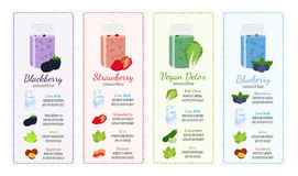 Different smoothie recipes, labels - berries, healthy detox. Different smoothie recipes, labels consist of berries, detox, milk, healthy drinks. Mint, cucumber Royalty Free Stock Photography