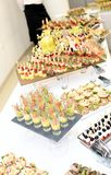 Different snack and canape on a table Royalty Free Stock Photo