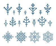 Different snowflake elements set Royalty Free Stock Images
