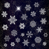 Different snowflakes on dark background vector Stock Photos