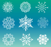 Different snowflakes set Royalty Free Stock Photo