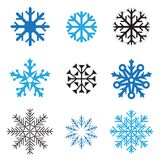 Different snowflakes. Different simple snowflakes for design on white background Royalty Free Stock Images