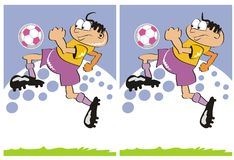 Different soccer players. Game for children's: find the 7 differences between these two soccer players Royalty Free Stock Image