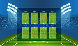 Different soccer team arrangement. Football infographic Stock Image