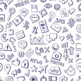 Different social media icons in hand drawn style. Vector seamless pattern on white background Stock Photo