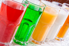Different soft drinks in a glass Stock Photography