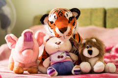 Different soft toys for children Stock Images