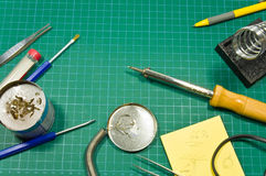 Different soldering hobby tools still life. Stock Photos