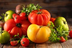 Different sort of tomatoes. Different sort of fresh tomatoes Stock Image
