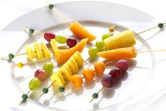 Different sort of fruit canape Royalty Free Stock Photography