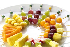 Different sort of fruit canape Royalty Free Stock Images