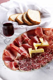 Different sort of salami and prosciutto Stock Photos