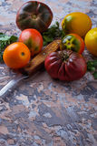 Different sort of tomato on concrete background Stock Photography