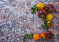 Different sort of tomato on concrete background Stock Photo