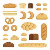 Different sorts of bread. Vector pictures of bakery food. Fresh different snack bread lunch illustration Stock Photography