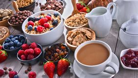 Different sorts of breakfast cereal products and fresh fruits. Composition with different sorts of breakfast cereal products and fresh fruits Royalty Free Stock Photos
