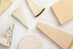 Different sorts of cheese. On white background Stock Photo