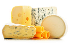Different sorts of cheese on white Stock Images